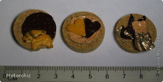 Не знаю, допускаются ли в скрапе такие толстоватые ринчики, но у меня они такие =) Ринчики являются утилизацией новогодних радостей: пробки, фантика от конфеты и мандариновой шкурки. Можно сказать, весь новый год в нескольких сантиметрах =) Их всего три, потому что остальные срезы пробки отличались от типичного размера ринчика - 2,5 см. фото 1