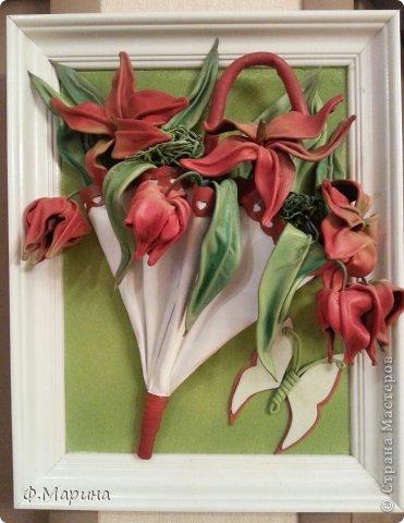 Картина панно рисунок Мастер-класс Ассамбляж Зонтик с цветами Кожа фото 1