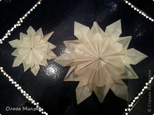 Здравствуйте, дорогие жители Страны Мастеров! От всей души поздравляю вас с Новым 2014 годом и Рождеством! Желаю здоровья, счастья, благополучия и творческих успехов!!!  Сегодня я покажу вам мои снежинки в технике оригами. Такие объемные снежинки будут прекрасно смотреться и на новогодней елочке, и даже подвешенные на длинных блестящих нитях на люстре. Бумагу для такой новогодней поделки лучше взять тонкую, наподобие пергаментной, чтобы снежинка была полупрозрачной. фото 2