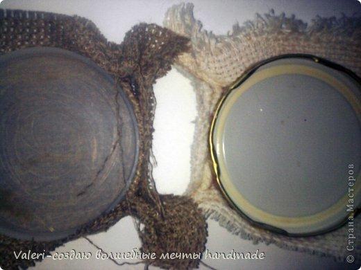 Мастер-класс Поделка изделие Аппликация Ассамбляж Совята-крышечки для запаривания кофе МК Клей Кофе Краска Ленты Мешковина Нитки Пуговицы фото 6