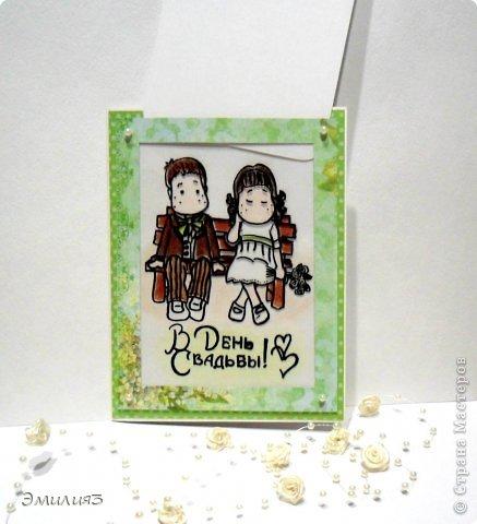 И снова здравствуйте! Сегодня я со свадебной темой)) Вот такая открытка смастрерилась у меня по МК Яны Шавкуновой на недавнем вебинаре. Результатом я довольна, молодожёны тоже)) Я рада)) Но открытка эта не простая..... фото 2