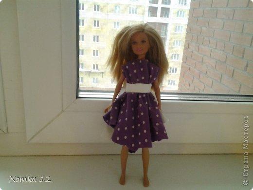 Здравствуйте! Хочу поделиться с вами идеей, как сделать платье для кукол за 5 минут :) И так нам понадобится : -  Ткань Тарелка или циркуль Нитки и иголка ( по желанию ) Ножницы фото 5