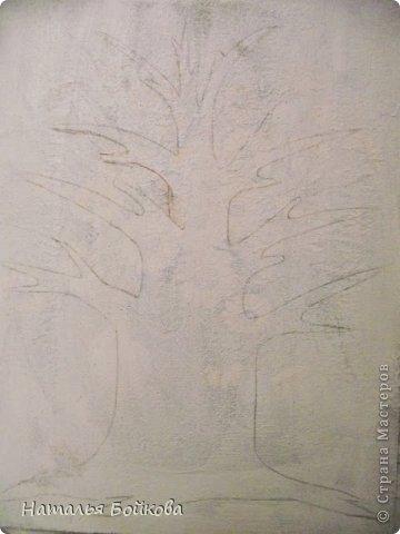 Картина панно рисунок Мастер-класс Скрапбукинг День семьи Ассамбляж Мк Родовое дерево Бумага Картон Клей Краска фото 9