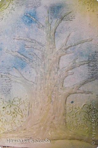 Картина панно рисунок Мастер-класс Скрапбукинг День семьи Ассамбляж Мк Родовое дерево Бумага Картон Клей Краска фото 13