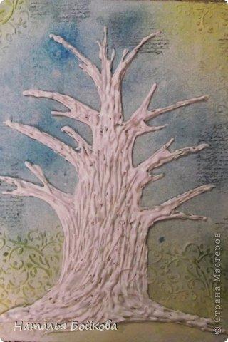 Картина панно рисунок Мастер-класс Скрапбукинг День семьи Ассамбляж Мк Родовое дерево Бумага Картон Клей Краска фото 14
