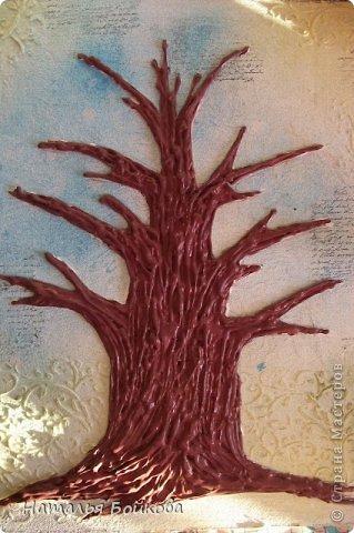 Картина панно рисунок Мастер-класс Скрапбукинг День семьи Ассамбляж Мк Родовое дерево Бумага Картон Клей Краска фото 15