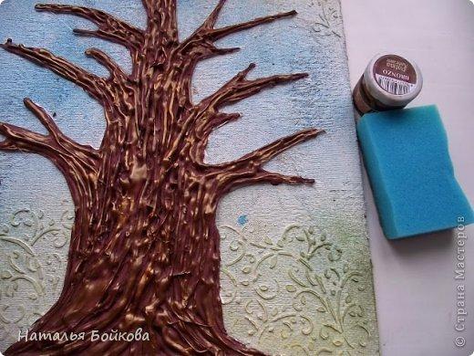 Картина панно рисунок Мастер-класс Скрапбукинг День семьи Ассамбляж Мк Родовое дерево Бумага Картон Клей Краска фото 17