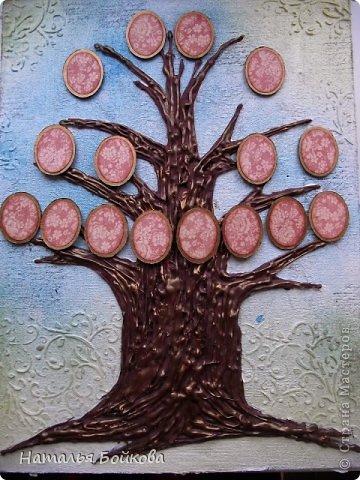 Картина панно рисунок Мастер-класс Скрапбукинг День семьи Ассамбляж Мк Родовое дерево Бумага Картон Клей Краска фото 18