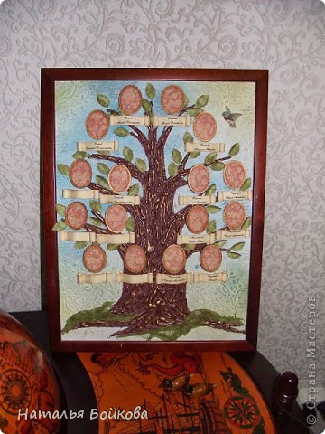 Картина панно рисунок Мастер-класс Скрапбукинг День семьи Ассамбляж Мк Родовое дерево Бумага Картон Клей Краска фото 23