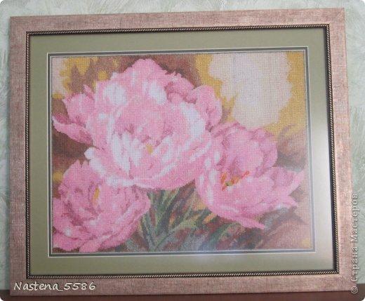 Пионы - Тюльпаны вышитые  бисером фото 2