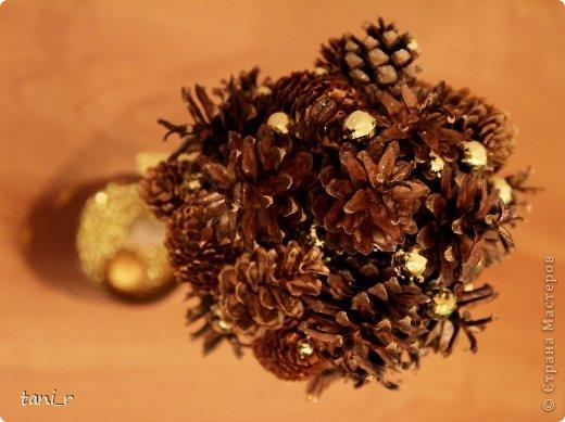 Новогоднее дерево из шишек фото 2