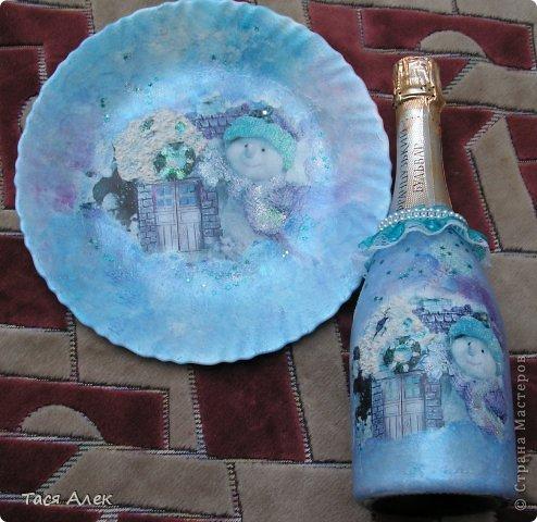 Доброго времени суток всем!!! Продолжаю тему отчета о новогодних подарках.  Этот наборчик - тарелка и бутылка были сделаны в подарок моему брату и его жене.  фото 1