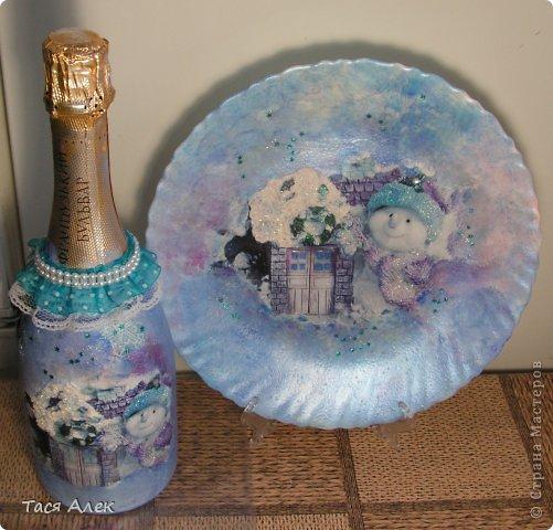 Доброго времени суток всем!!! Продолжаю тему отчета о новогодних подарках.  Этот наборчик - тарелка и бутылка были сделаны в подарок моему брату и его жене.  фото 9