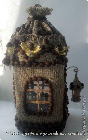 Декор предметов Мастер-класс Аппликация Ассамбляж Кофейный домик-баночка для хранения всяких нужностей МК Картон Клей Кофе Мешковина Шпагат фото 37