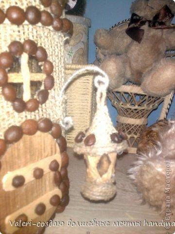 Декор предметов Мастер-класс Аппликация Ассамбляж Кофейный домик-баночка для хранения всяких нужностей МК Картон Клей Кофе Мешковина Шпагат фото 25