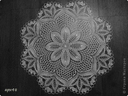 Интерьер Вязание спицами Салфетка спицами Цветок Пряжа фото 1