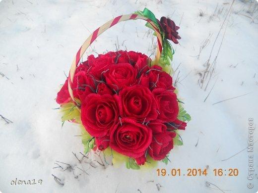 Корзина с розами к дню рождения племянницы. У нас выпал снег и грех было не воспользоваться этим.  фото 3