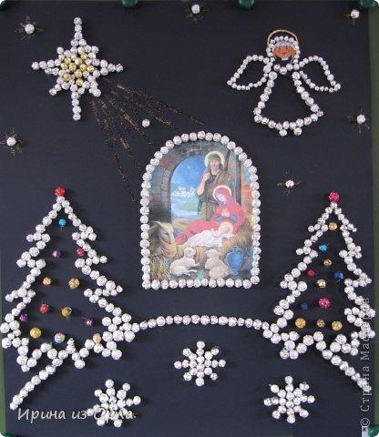 Картина панно рисунок Рождество Аппликация Рождество Христово Клей Фантики Фольга фото 1