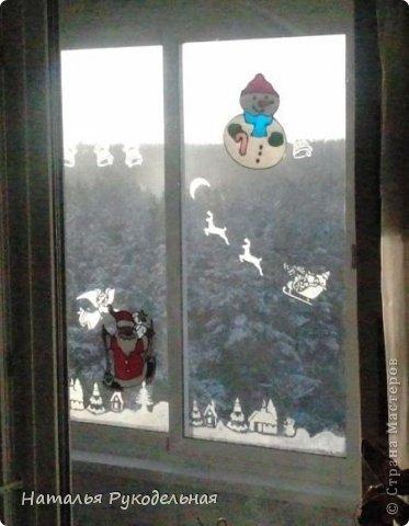 Декор предметов Новый год Украсим окна зубной пастой через трафареты фото 5