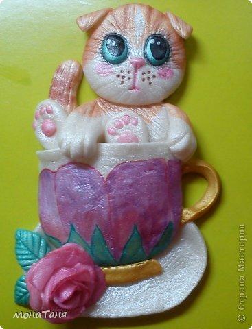 """Здравствуйте!!! Я к Вам с очередным """"чашечным котенком"""". Лепила из ХФ  по рисунку для вышивки из интернета. фото 2"""