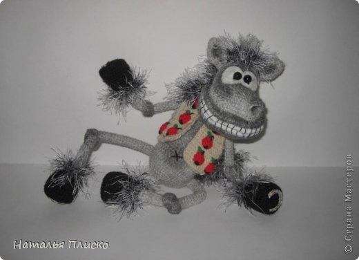 Всем привет!!! На днях у моего мужа, а если быть точной - в Старый Новый год, был день рожденья))))) А так как он родился в год Лошади, вопрос с подарком для меня был решён уже давно, как только я увидела этого Коня от Алоны Рабинович (http://www.liveinternet.ru/users/4938422/post293241034/)))))) Спасибо ей большое за позитив и лёгкое вязание))))))  фото 6
