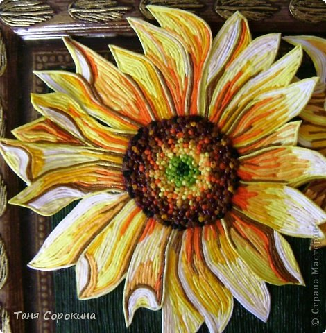Картина панно рисунок Аппликация из скрученных жгутиков Подсолнухи Цветной пейп-арт Салфетки фото 3