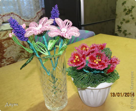 фиалка, лаванда и какие то полевые цветочки( названия не помню) .