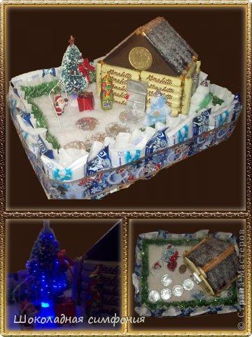 Хоть Новый год с Рождеством уже и прошли, но все равно покажу. Нового ничего не открою наверное - у многих девочек работы гораздо лучше и интереснее, но поделиться хочется. Елочка конфетная, тяжелая. Ярусы все открываются (сделаны по типу шкатулок), внутри еще ассорти из конфет - делалась на коллектив от руководства. фото 4