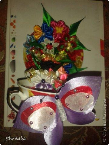 """Моя чашечка парит в воздухе! Ура! Хотелось сделать цветочки в одном стиле и цвете, но тараканы )))))) в голове и разнообразие ленточек в моей коробочке победили. Получилось """"Лето в январе"""" фото 3"""