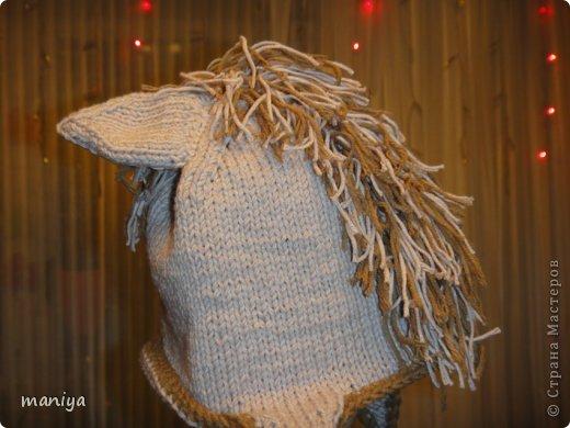 вот такая лошадка - символ этого года у меня вышла на подарки. пока майя была в настроении решила по-фоткать на ней)) вязала шапку сверху вниз, на кольцевых спицах. ушло чуть меньше 100 грамм. и темная нить для отделки. ушки двойные задник из светлых ниток, перед из темных. сшиты и пришиты))) гриву делала из нарезанных ниток привязанных на косичку связанную крючком. потом пришила к шапке фото 5