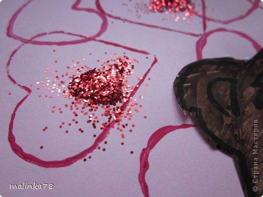 Продолжаем тему дня Святого Валентина. Эту работу мы сделали с детками 3-4 лет.  фото 6