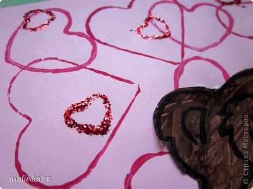 Продолжаем тему дня Святого Валентина. Эту работу мы сделали с детками 3-4 лет.  фото 7