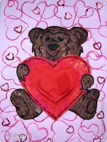 Продолжаем тему дня Святого Валентина. Эту работу мы сделали с детками 3-4 лет.  фото 1
