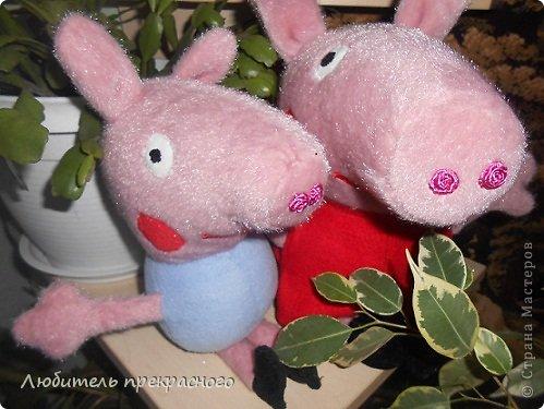 Игрушка Мастер-класс Шитьё Мультяшные свинка Пеппа и Джордж Тесьма шнур Ткань фото 1