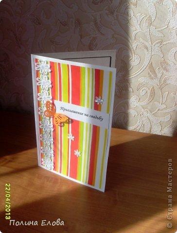 Всем добрый день! Пробовала делать открытки - пригласительные на свадьбу. Работы прошлогодние. Не скрапбукинг конечно, но что есть. )))))  фото 7