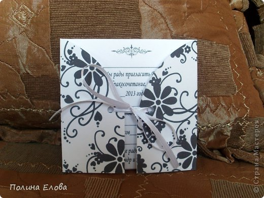 Всем добрый день! Пробовала делать открытки - пригласительные на свадьбу. Работы прошлогодние. Не скрапбукинг конечно, но что есть. )))))  фото 8