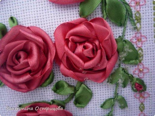 Картина панно рисунок Валентинов день Вышивка        Плетистая роза  Канва Ленты Нитки фото 5