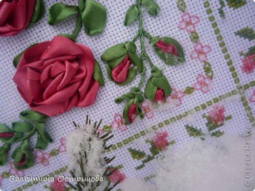 Картина панно рисунок Валентинов день Вышивка        Плетистая роза  Канва Ленты Нитки фото 6