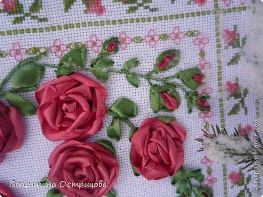 Картина панно рисунок Валентинов день Вышивка        Плетистая роза  Канва Ленты Нитки фото 10