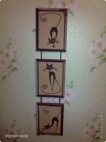 Использовались рамочки для фото, рисунки кошек, ткань красила кофе, рисунки из молотого кофе. Спасибо за внимание) фото 1