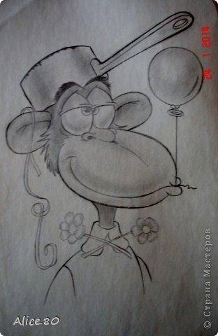 Добрый день и здравствуйте!!! Представляю жителям Страны еще несколько рисунков в карандаше. На первом фото - обезьянка после празднования дня рождения фото 2