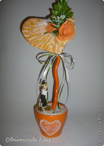 У меня очередные топиарии-валентинки, Это оранжевое сердце сделано благодаря МК Леночки  https://stranamasterov.ru/node/703620?c=favorite , спасибо ей за это большое!!!!