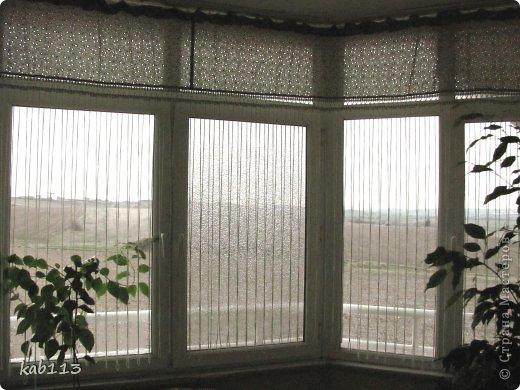 """соорудила такое """"нечто"""" в качестве шторы для балкона, длина 4.5 метра. верх из батиста, по верхнему краю из той же ткани пришила рюшик, обвязка и цепочки воздушных петель крючком. предназначение шторы скорей декоративное, кроме того, главным принципом было сохранение освещенности для """"леса"""", расположенного на этом самом балконе, поэтому штора такая символическая ) фото 3"""