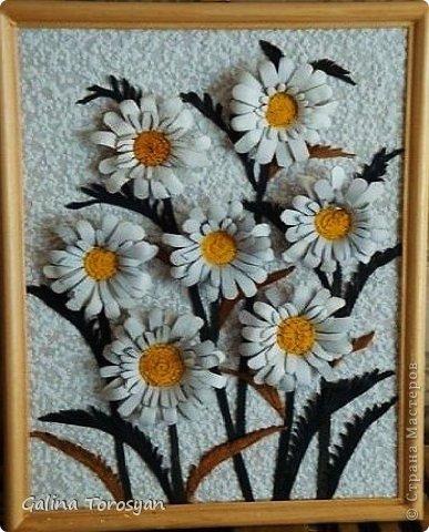 Декоративные панно из кожи с ромашками фото 6