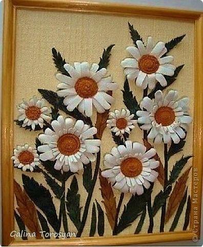 Декоративные панно из кожи с ромашками фото 3