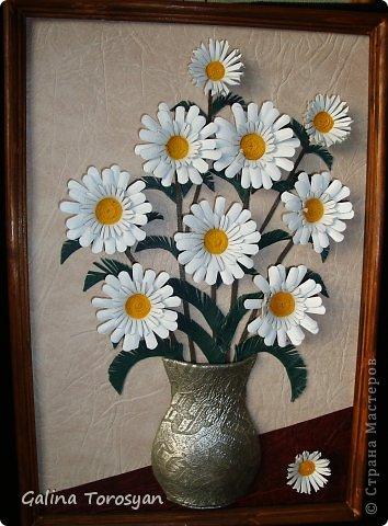 Декоративные панно из кожи с ромашками фото 4