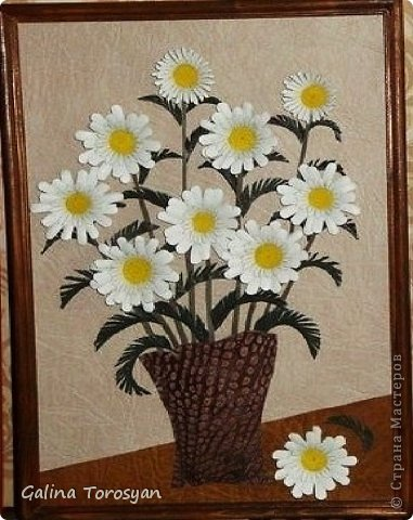 Декоративные панно из кожи с ромашками фото 5