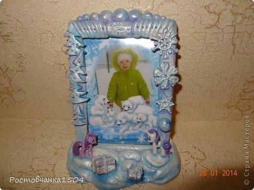 Зимняя рамочка из соленого теста для доченьки.