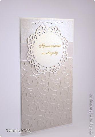 Свадебное приглашение с тиснением завитки фото 3