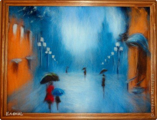 """Картина из шерсти """"Город под дождем"""""""
